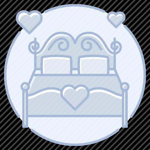 bed, heart, honeymoon, love, marriage, wedding, wedding night icon