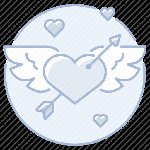 arrow, cupid, heart, love, marriage, wedding, winged icon