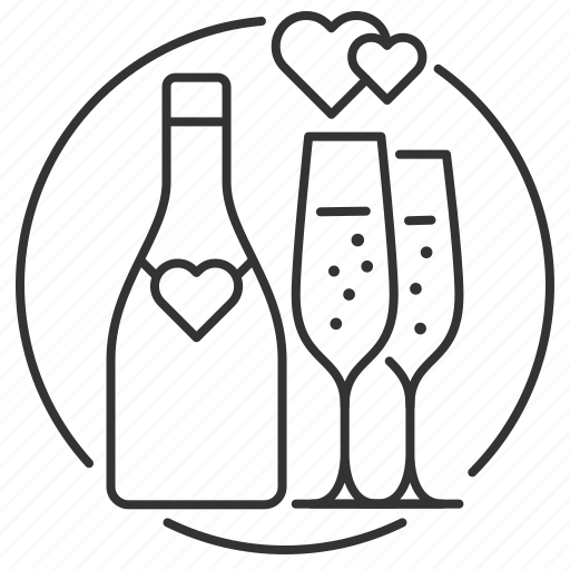 bottle, champagne, flutes, marriage, toast, wedding, wedding reception icon