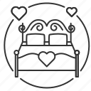 bed, honeymoon, make love, sex, wedding, wedding night icon
