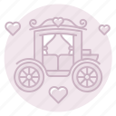 carriage, horse-drawn-carriage, just married, reception icon