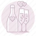 bottle, champagne, flutes, marriage, toast, wedding icon