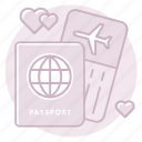airline, honeymoon, passport, ticket, travel, trip, vacation icon