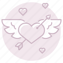 arrow, cupid, heart, love, marriage, wedding, winged icon