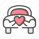 car, love, transportation, wedding icon