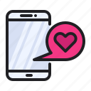 love, mobile, notification, phone, romance, smartphone, wedding icon