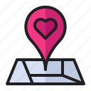 location, love, map, pin, place, romance, wedding icon