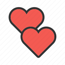 card, design, heart, hearts, love, red, two icon