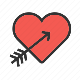 arrow, day, heart, love, red, valentines icon