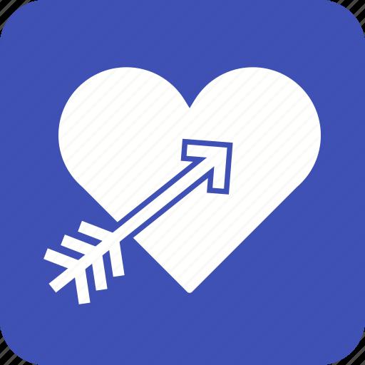 arrow, day, design, heart, love, valentines, watercolor icon