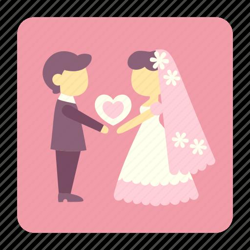 bride, couple, groom, love, lover, people, wedding icon
