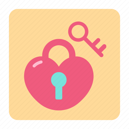 heart lock, heart locking, key, love, romantic, unlock, valentine icon