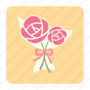 bouquet, floral, flower, flower bouquet, love, rose, valentines icon
