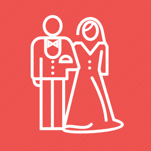 bride, couple, dress, groom, happy, marriage, wedding icon