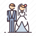 bride, groom, love, marriage, marry, romance, wedding icon