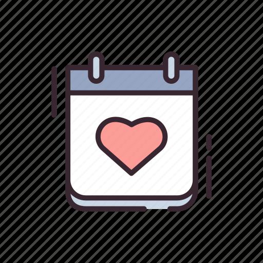 calendar, february, heart, love, romance, romantic, valentine icon