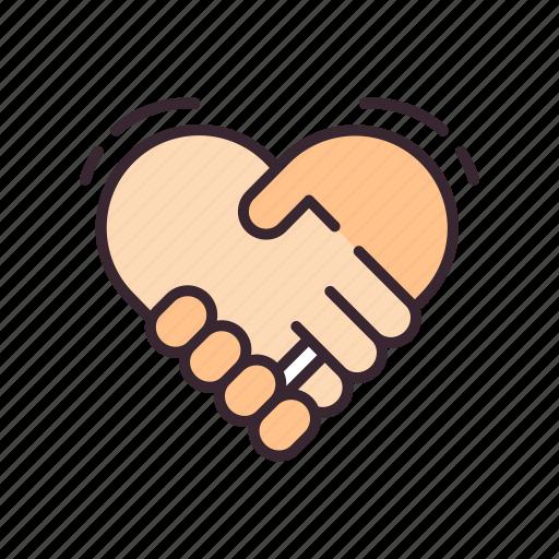 friendship, hand, handshake, heart, love, partnership, together icon