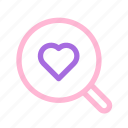 find, heart, love, magnifier, searching, wedding icon