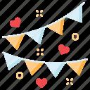 flag, love, string, wedding icon