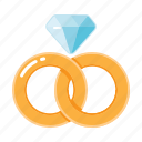 rings, wedding, couple, engagement, marriage, diamond icon
