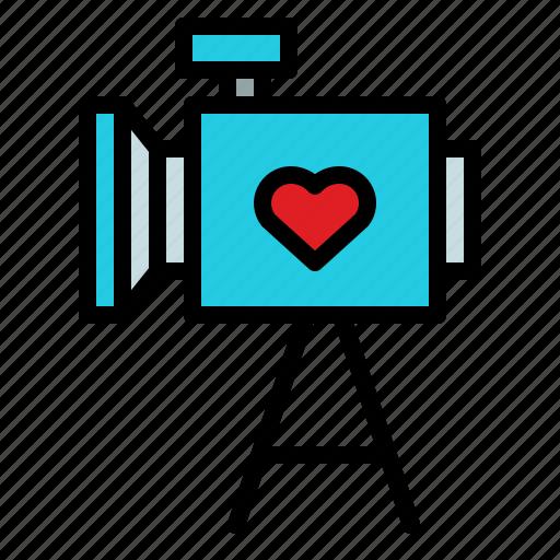 romantic, video, video recorder, wedding icon