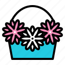 basket, flora, floral, flower, romantic, wedding