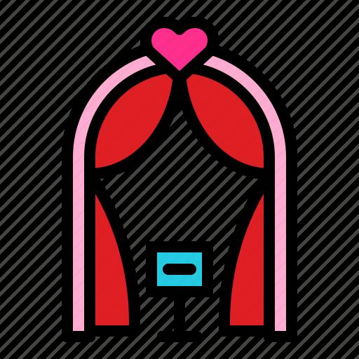 arch, romantic, wedding, wedding arch icon