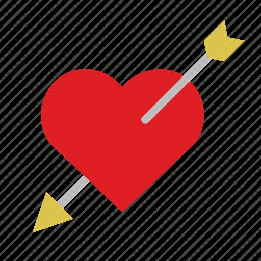 arrow, heart, love, stab icon