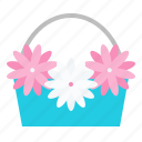 basket, flora, floral, flower, romantic icon