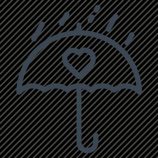 raining, romantic, umbrella, wedding icon