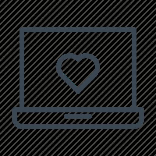 heart, laptop, media, notebook, online dating, social media, wedding icon