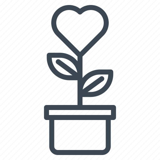 grow, hearrt, love, plant, romance, wedding icon