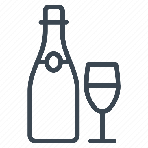 champagne, heart, wedding, wine icon
