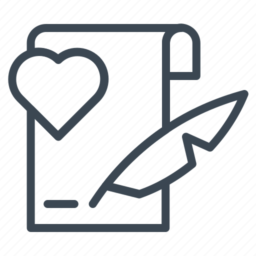agreement, heart, letter, note, valentine, wedding, writing icon