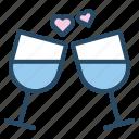champagne, drink, toast, wedding, wine, heart, restaurant