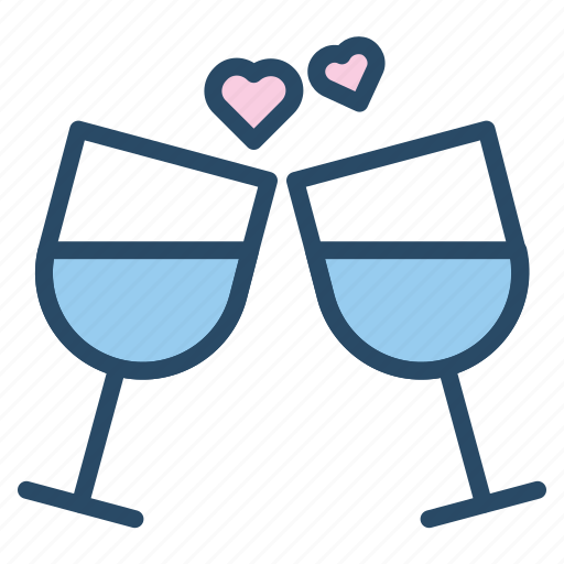 champagne, drink, heart, restaurant, toast, wedding, wine icon