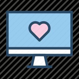 computer, internet, online dating, screen, social media, wedding icon