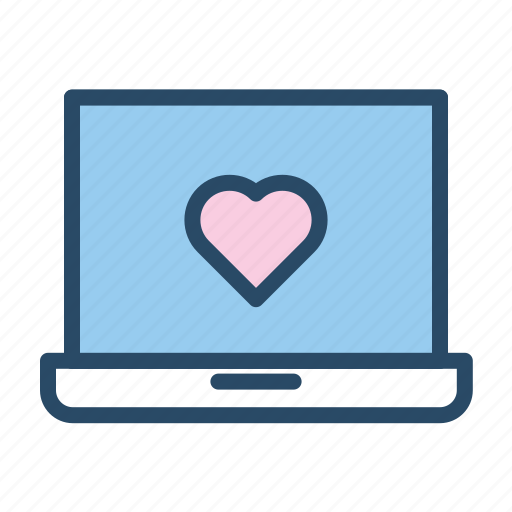 heart, laptop, notebook, wedding icon