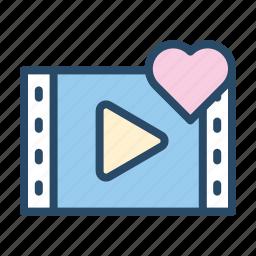 love, media, play, player, romantic, video, wedding icon