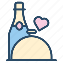 catering, champagne, heart, love, valentine, wedding, wine icon