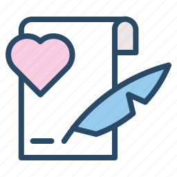 agreement, letter, note, valentine, wedding, writing icon