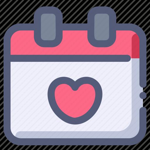 calendar, date, heart, love, valentine icon