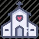 church, love, marriage, valentine, wedding icon