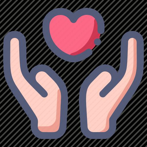 care, charity, hand, heart, love, valentine icon