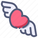heart, love, valentine, wedding, wing icon