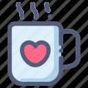 beverage, chocolate, hot, love, mug, winter icon