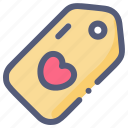 discount, heart, love, sale, tag icon