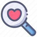 heart, love, magnifying, search, zoom