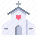 church, love, marriage, valentine, wedding icon