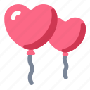 balloon, decoration, heart, love, wedding icon